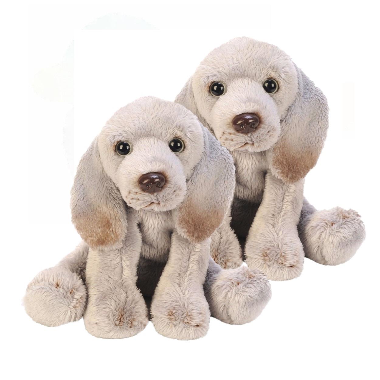 2x stuks speelgoed knuffel pluche weimaraner hond grijs13 cm