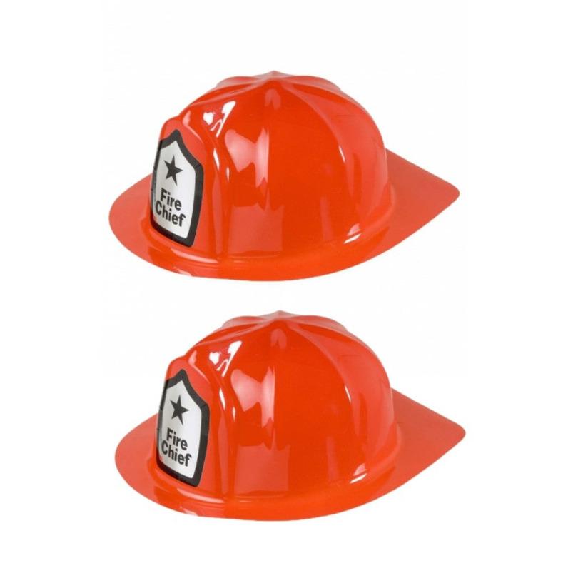 2x stuks rode brandweer verkleed helm