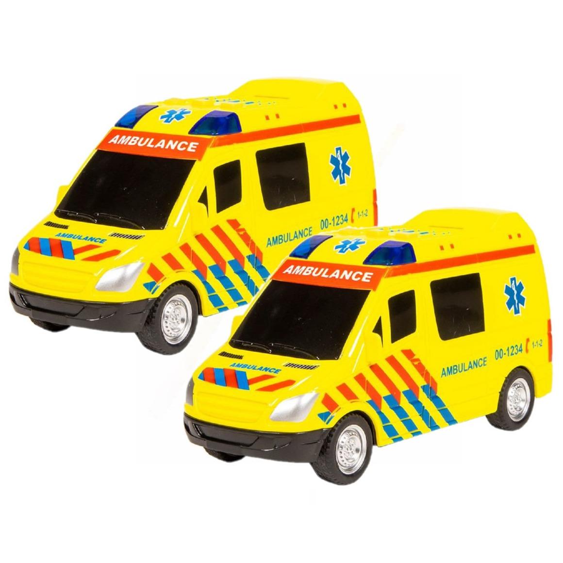 2x stuks speelgoed ambulance met licht en geluid