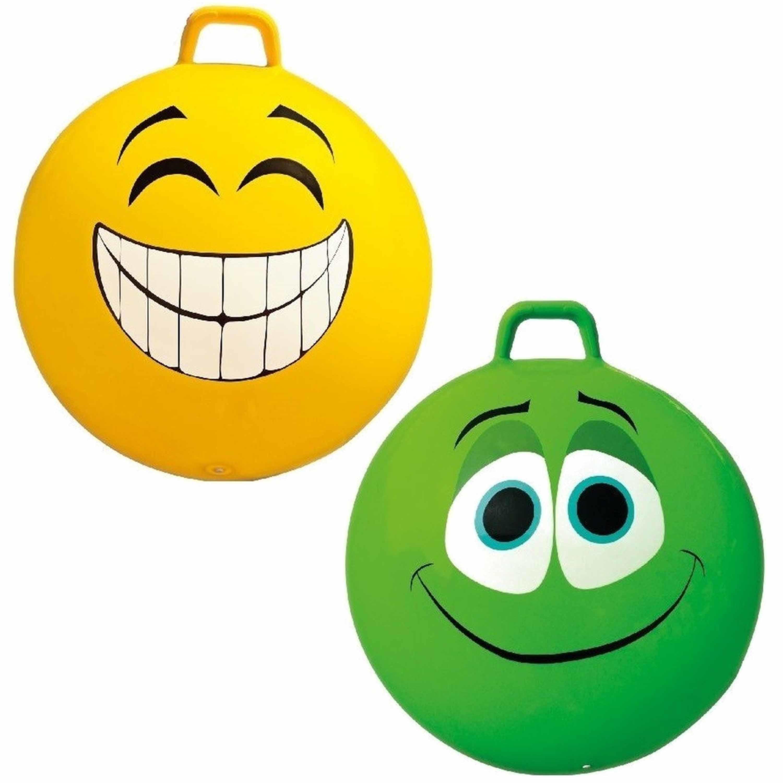 2x stuks speelgoed skippyballen met funny faces gezicht geel en groen 65 cm