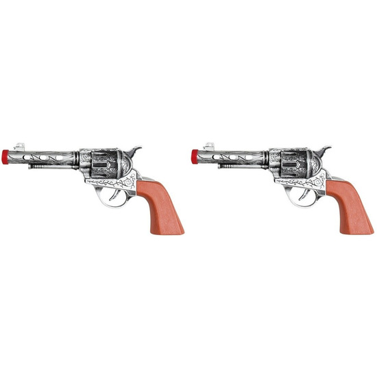 2x speelgoed revolvers/pistolen zilver 20 cm western thema
