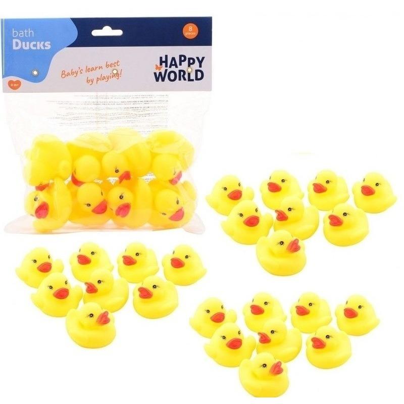 32x speelgoed badeendjes geel 6 cm