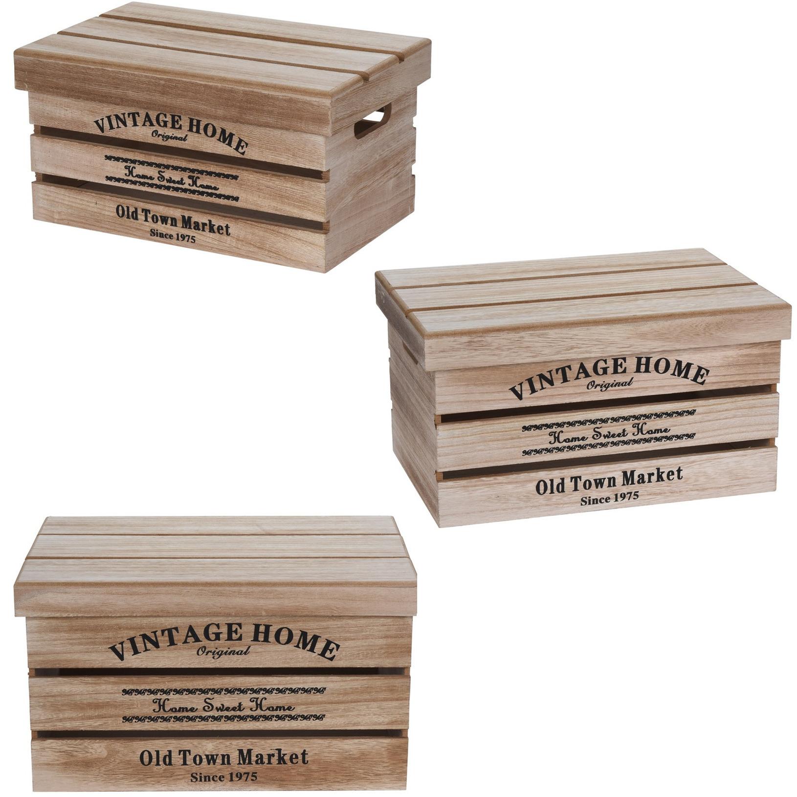 3x houten opbergkisten met deksel in verschillende formaten