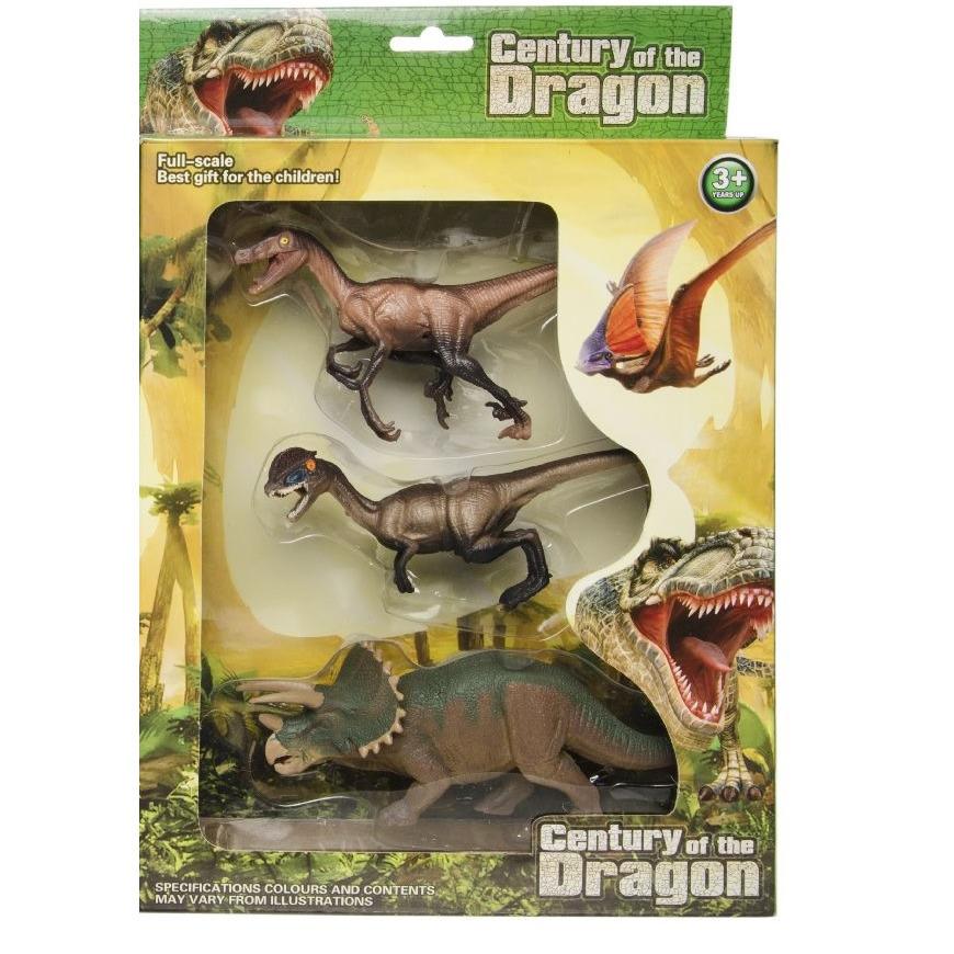 3x plastic dinosaurus speelgoed figuren voor kinderen