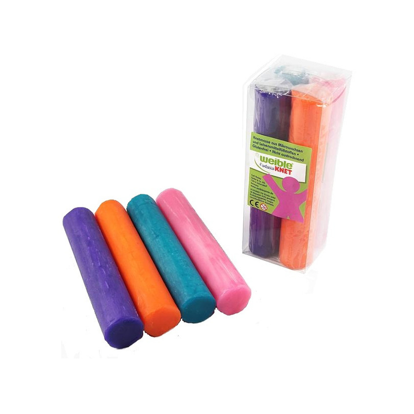4x gekleurde fantasie klei rollen 100 gram creatief speelgoed voor kinderen