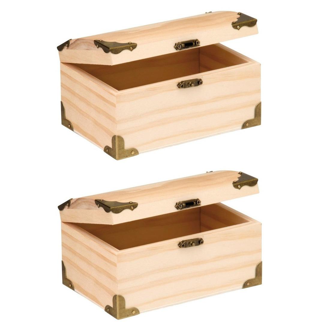 4x stuks houten kist ronde deksel 15 x 9 5 cm hobby knutselmateriaal