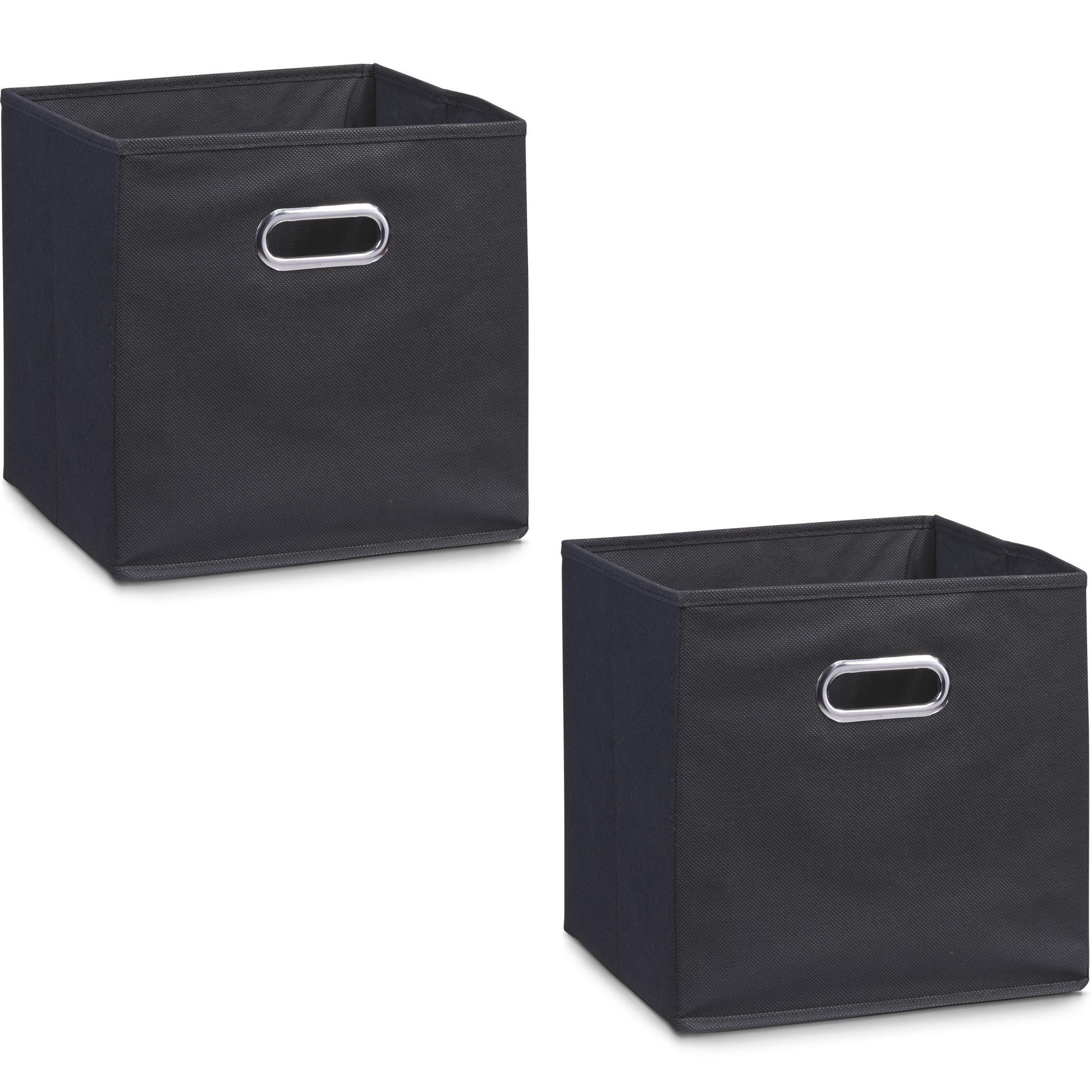 4x zwarte opbergmandjes kinderkamer 32 x 32 cm
