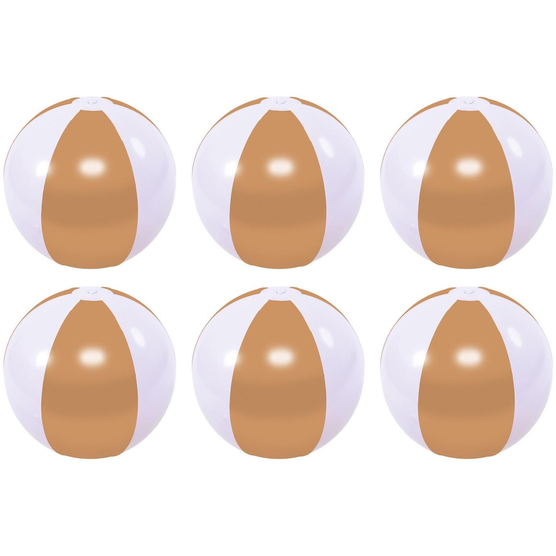 6x waterspeelgoed gouden strandballen 27 cm