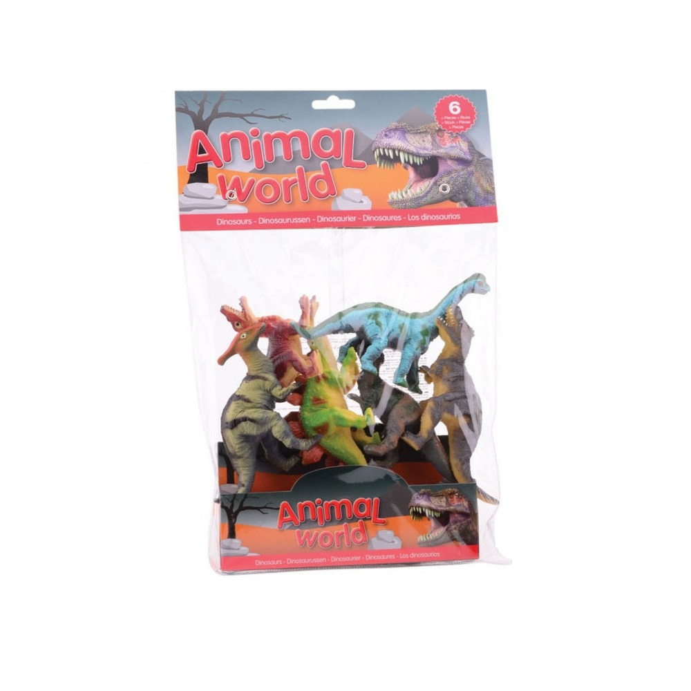 6x plastic dinosaurier speelgoed figuren 10 14 cm