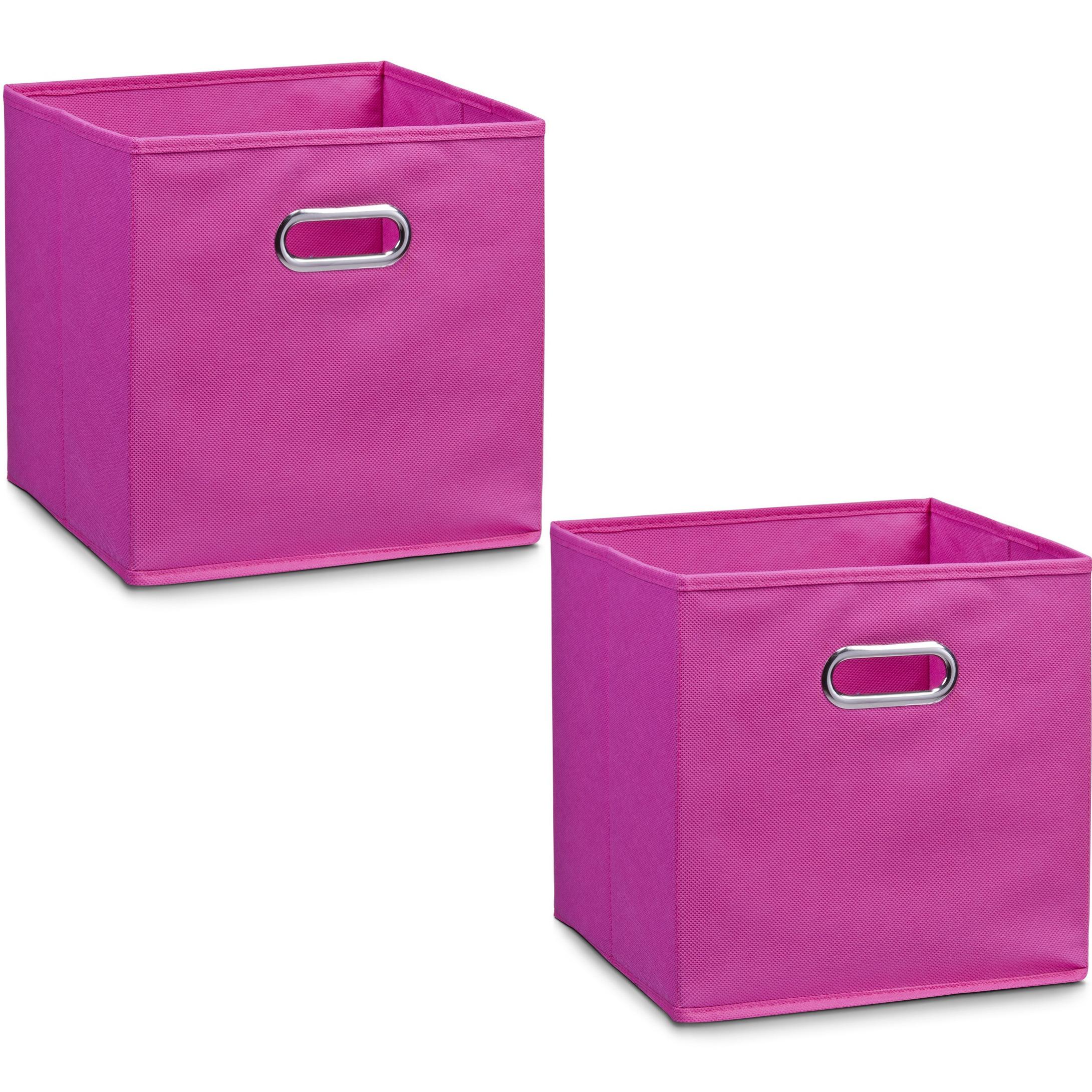 6x roze opbergmandjes kinderkamer 28 x 28 cm