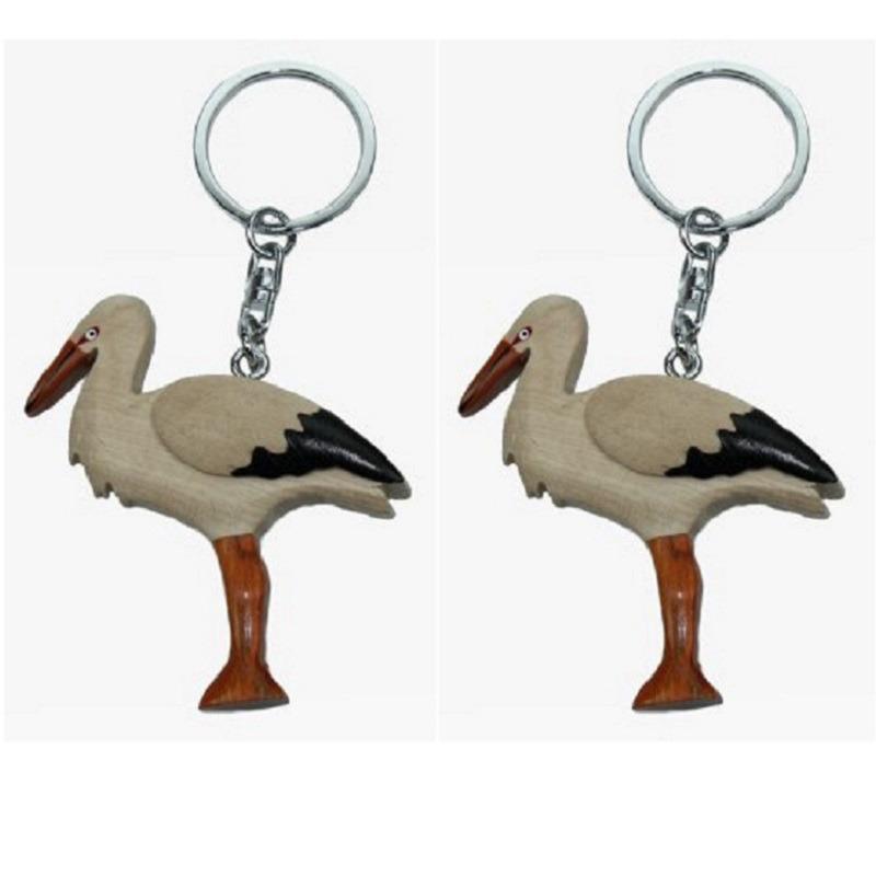6x stuks dieren sleutelhangers vogel ooievaar 6 cm