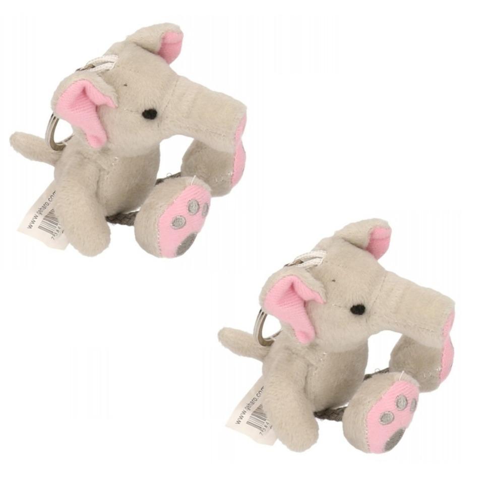 6x stuks sleutelhangers olifant knuffelbeestje 10 cm