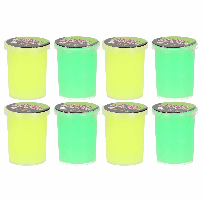 8x stuks potjes met glow in the dark speelgoed slijm geel groen