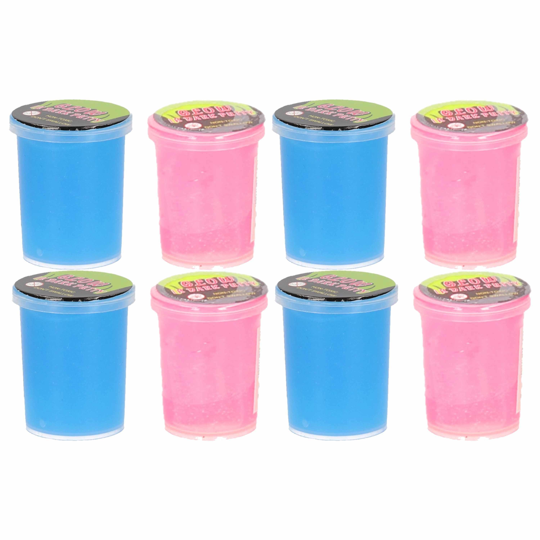 8x stuks potjes met glow in the dark speelgoed slijm roze blauw