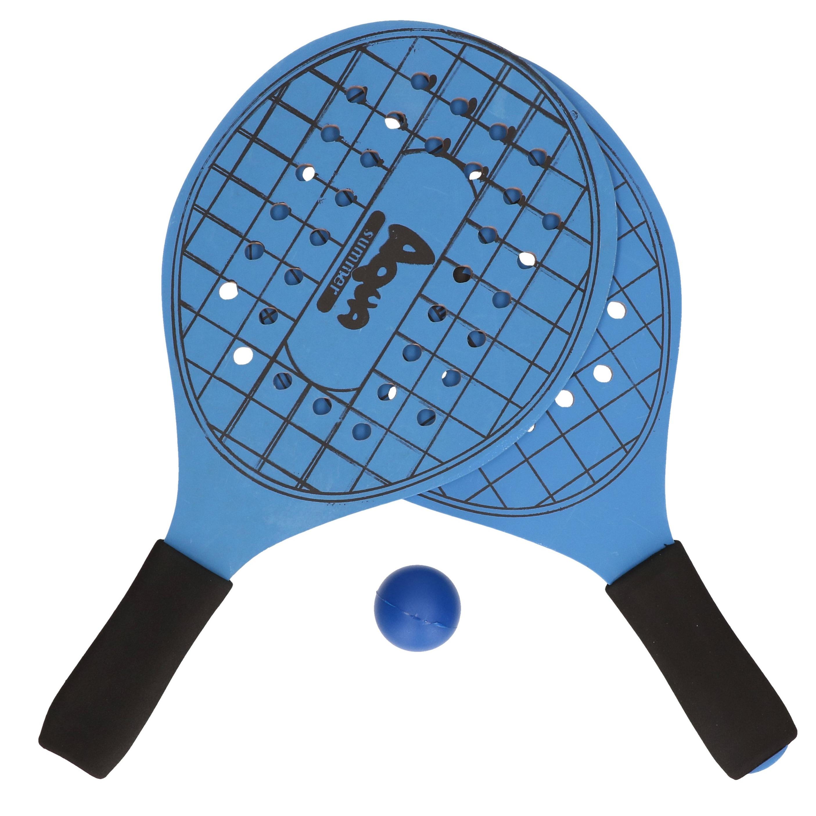 Actief speelgoed tennis beachball setje blauw met tennisracketmotief