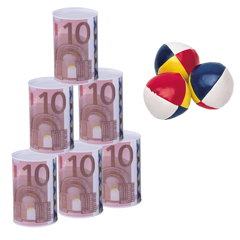 Blikken gooien 10 euro geld biljet blik 13 cm speelset 9 delig kermis speelgoed