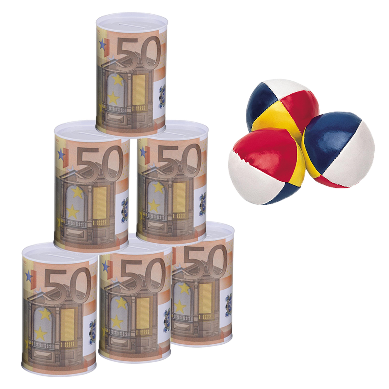 Blikken gooien 50 euro geld biljet blik 11 cm speelset 9 delig kermis speelgoed