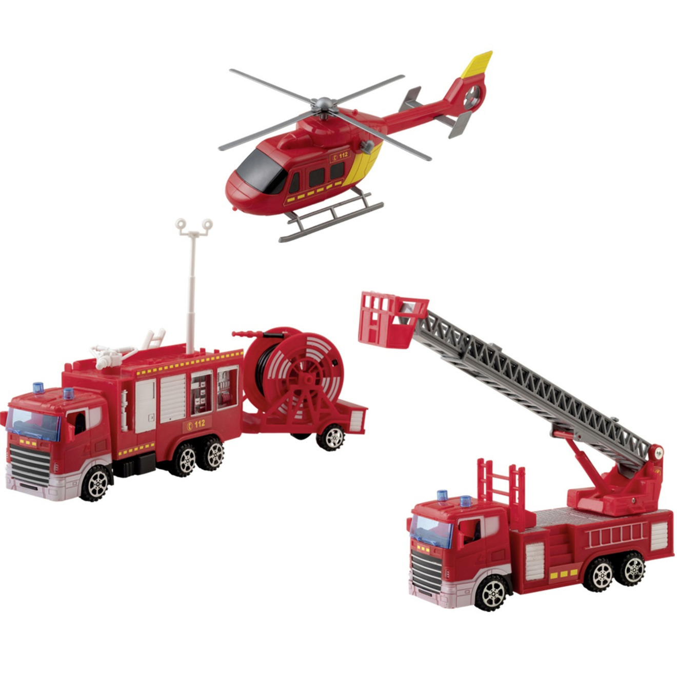 Brandweer werkvoertuigen speelgoed set 4 delig