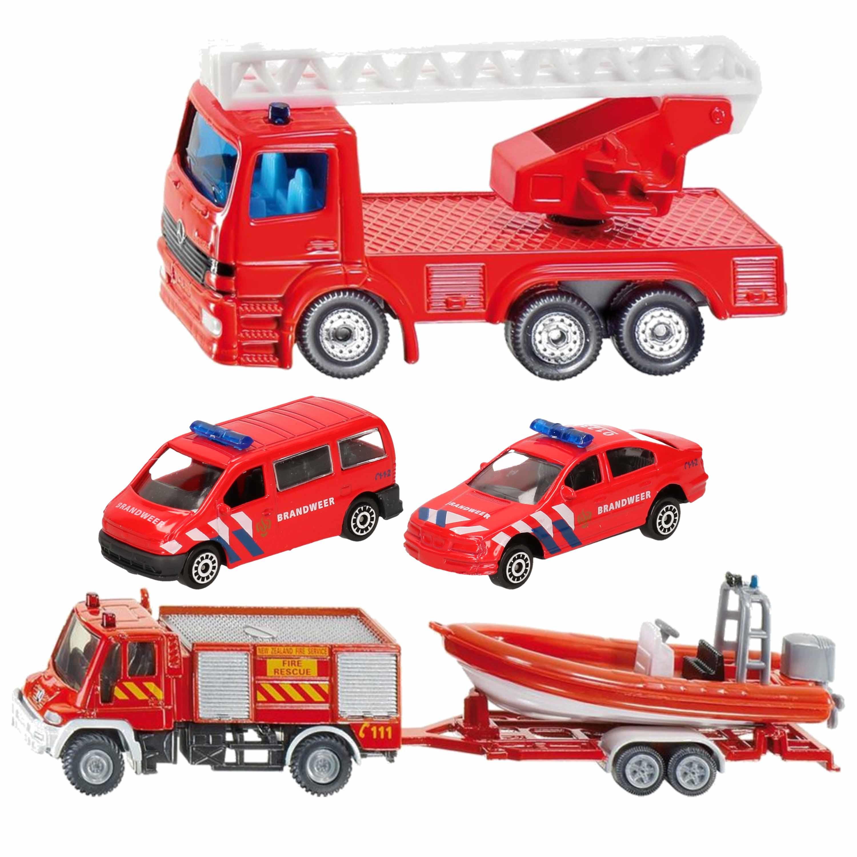 Brandweer wagens uitgebreide speelgoed set 5 delig die cast 10281515