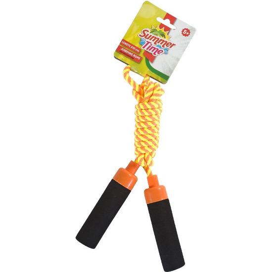 Buitenspeelgoed geel oranje springtouw 210 cm voor kinderen