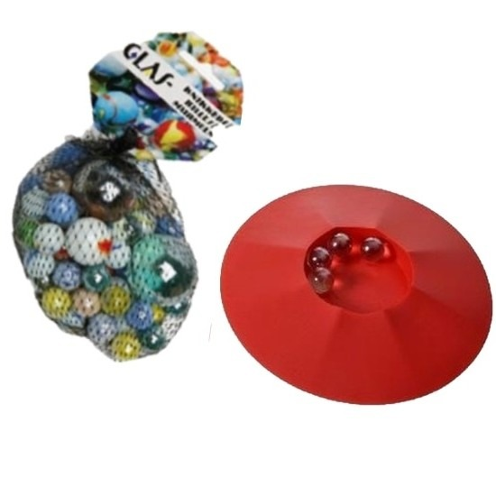 Buitenspeelgoed knikkers startset knikkerpot en 170 glazen knikkers