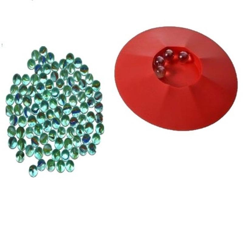 Buitenspeelgoed knikkers startset knikkerpot en 190 glazen knikkers