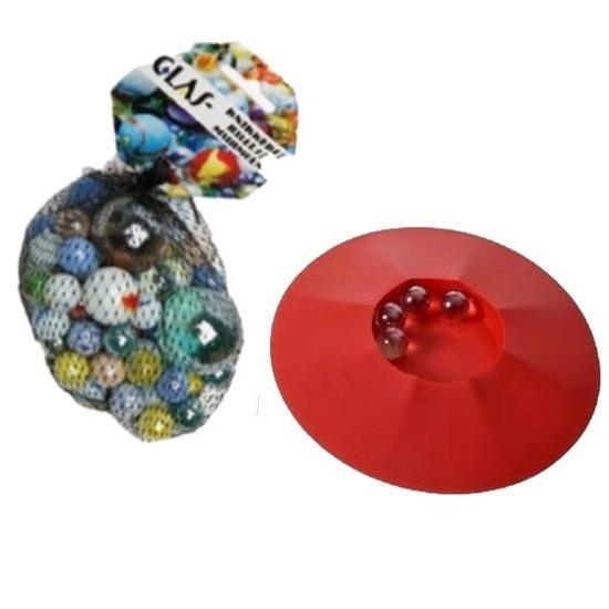 Buitenspeelgoed knikkers startset knikkerpot en 85 glazen knikkers