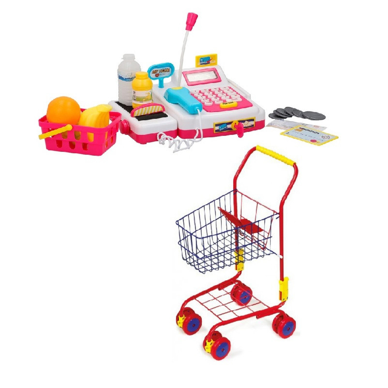 Speelgoed kassa met licht en geluid en booschappenkarretje