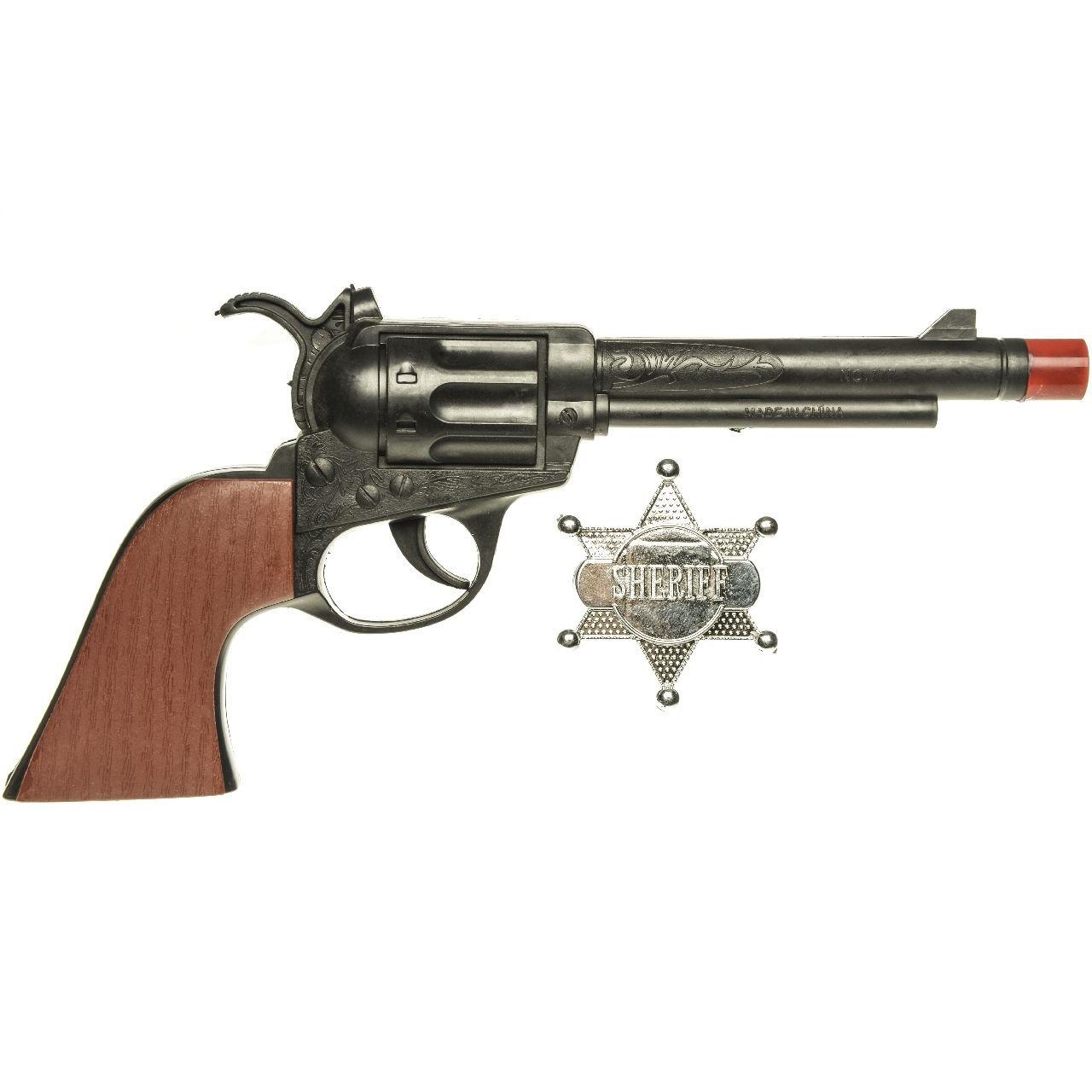 Speelgoed cowboy pistool met sheriff ster 24 cm
