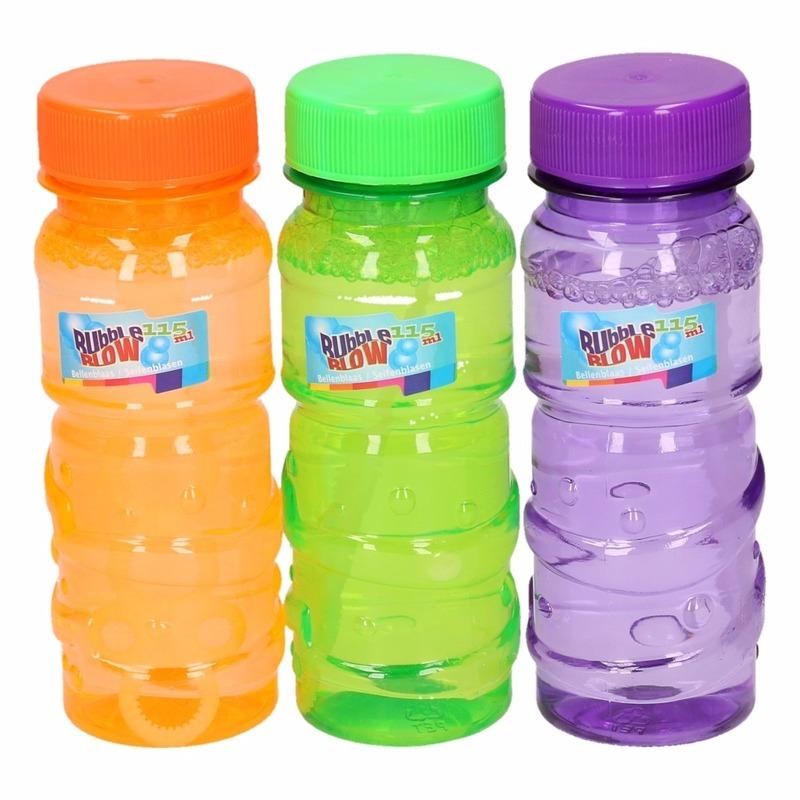 Speelgoed gekleurde bellenblaas flesjes 12 stuks x 115ml