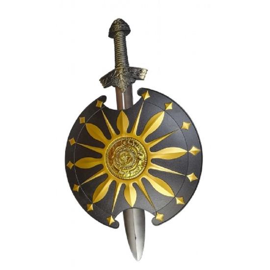 Middeleeuws zwaard met rond schild goud zwart speelgoed