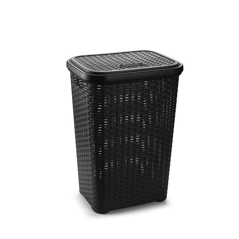 Grote rotan wasmand met deksel van 60 liter in het zwart