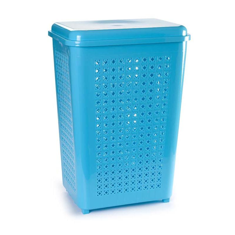 Grote wasmand opberg mand met deksel 50 liter in het lichtblauw