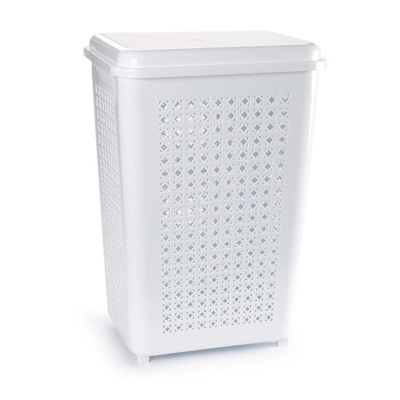 Grote wasmand opberg mand met deksel 50 liter in het wit