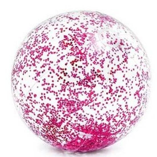 Waterspeelgoed roze glitters strandbal 71 cm
