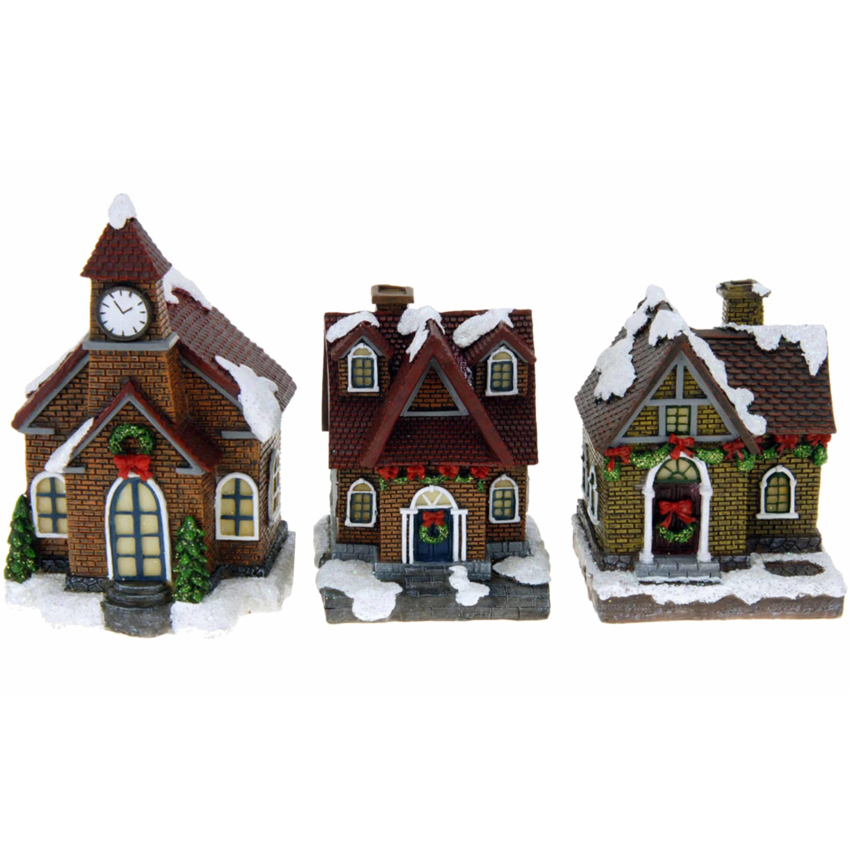 Kerstdorp huisjes set van 3x huisjes met led verlichting 13 cm