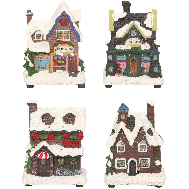 Kerstdorp huisjes set van 4x huisjes met led verlichting 12 cm