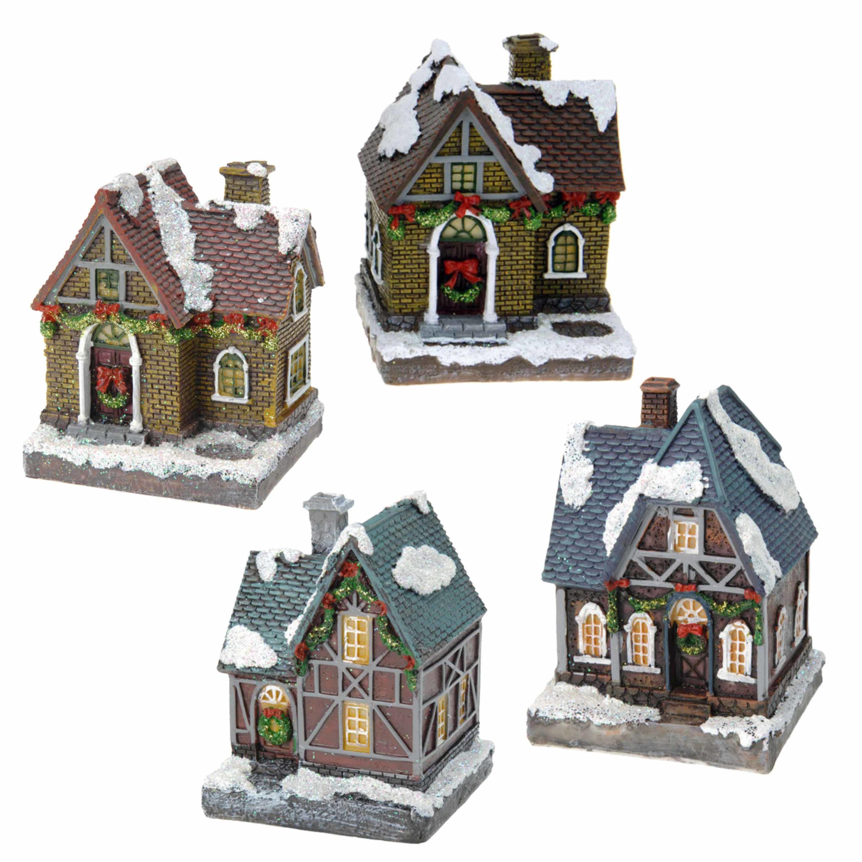 Kerstdorp huisjes set van 4x huisjes met led verlichting 13 5 cm 10241798