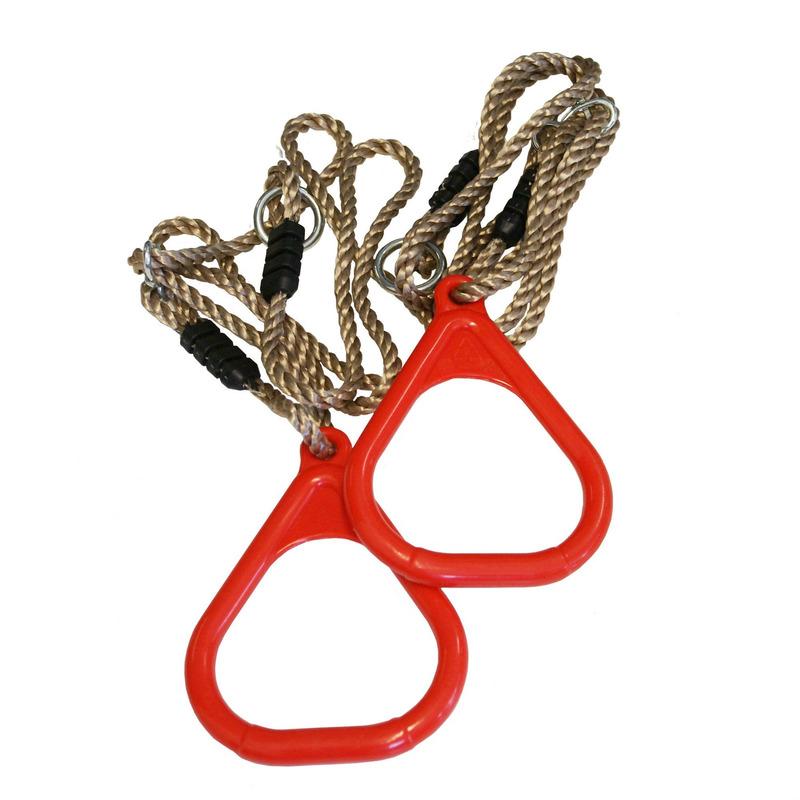 Buitenspeelgoed speeltoestel ringen rood 2 stuks 16 x 21 cm