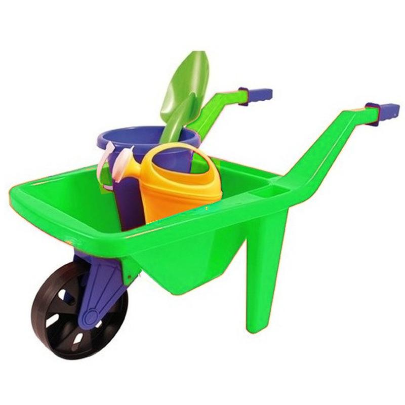 Speelgoed groene kruiwagen zandbak setje 65 cm