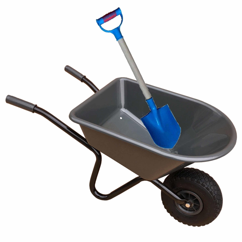 Kunststof metalen speelgoed kruiwagen 60 cm antraciet inclusief blauwe schep 55 cm voor kinderen