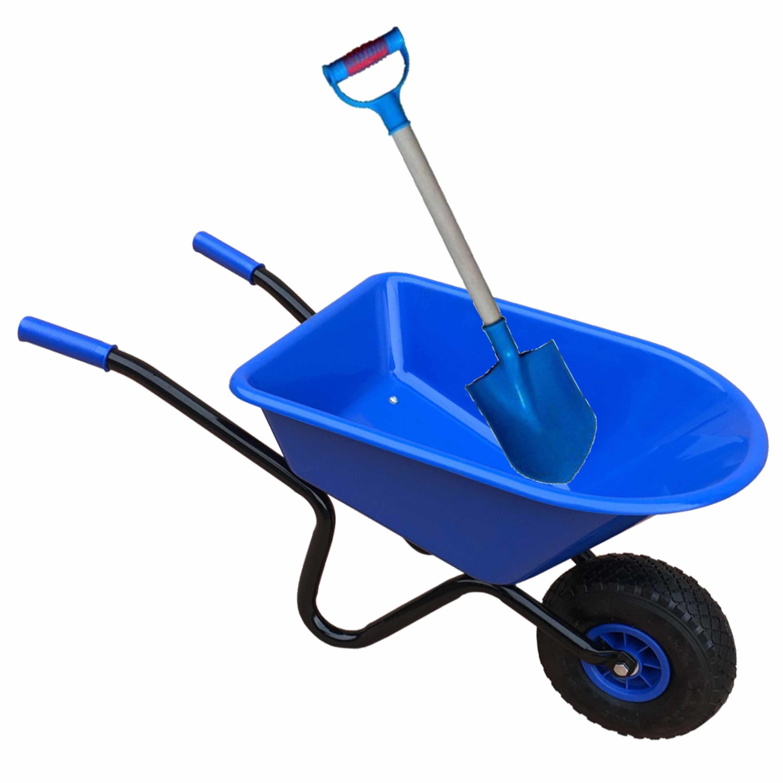 Kunststof metalen speelgoed kruiwagen 60 cm blauw inclusief blauwe schep 55 cm voor kinderen
