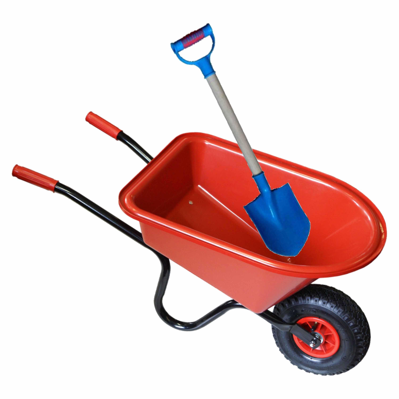 Kunststof metalen speelgoed kruiwagen 60 cm rood inclusief blauwe schep 55 cm voor kinderen