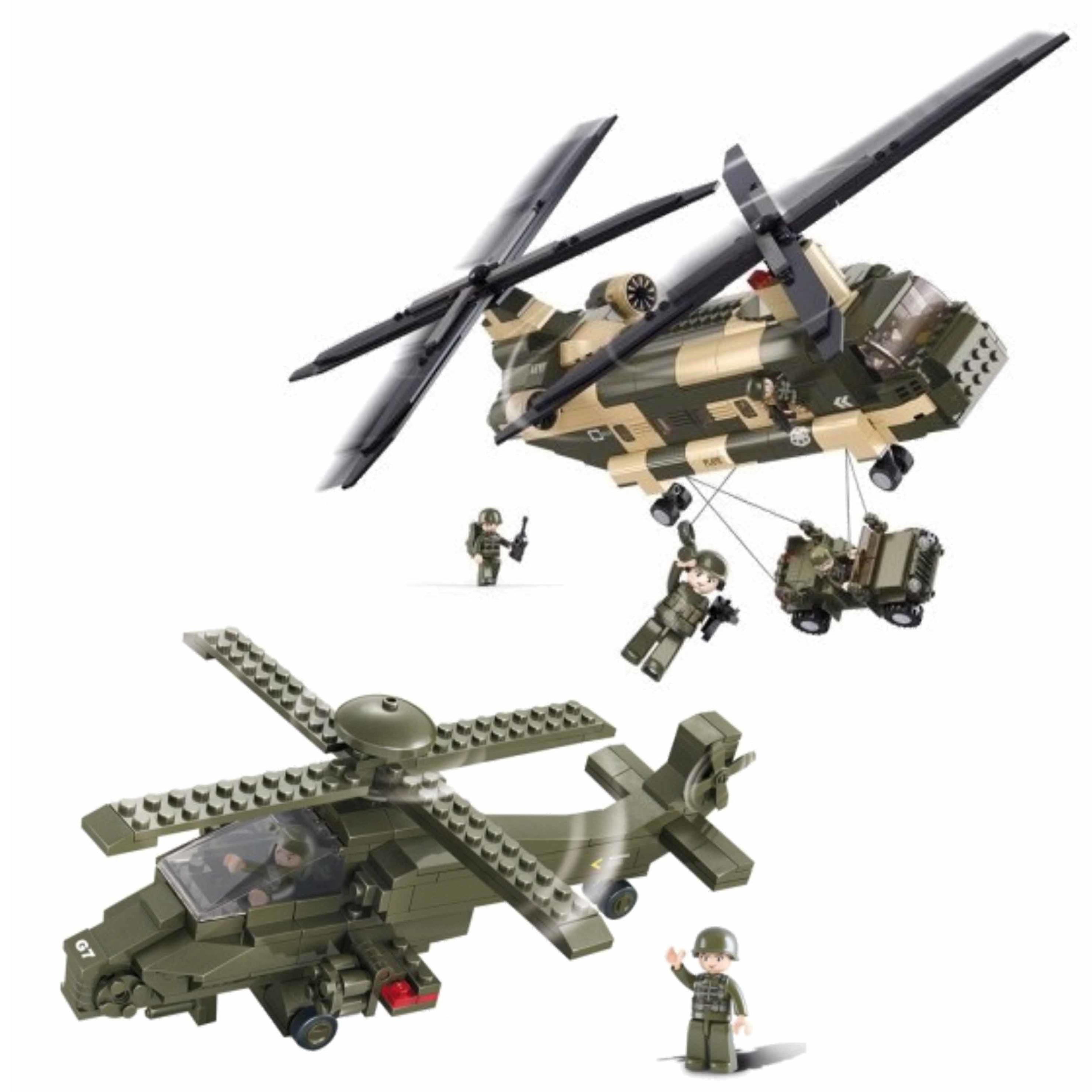 Leger soldaten speelgoed set van sluban 2x army helikopters van 43 en 28 cm