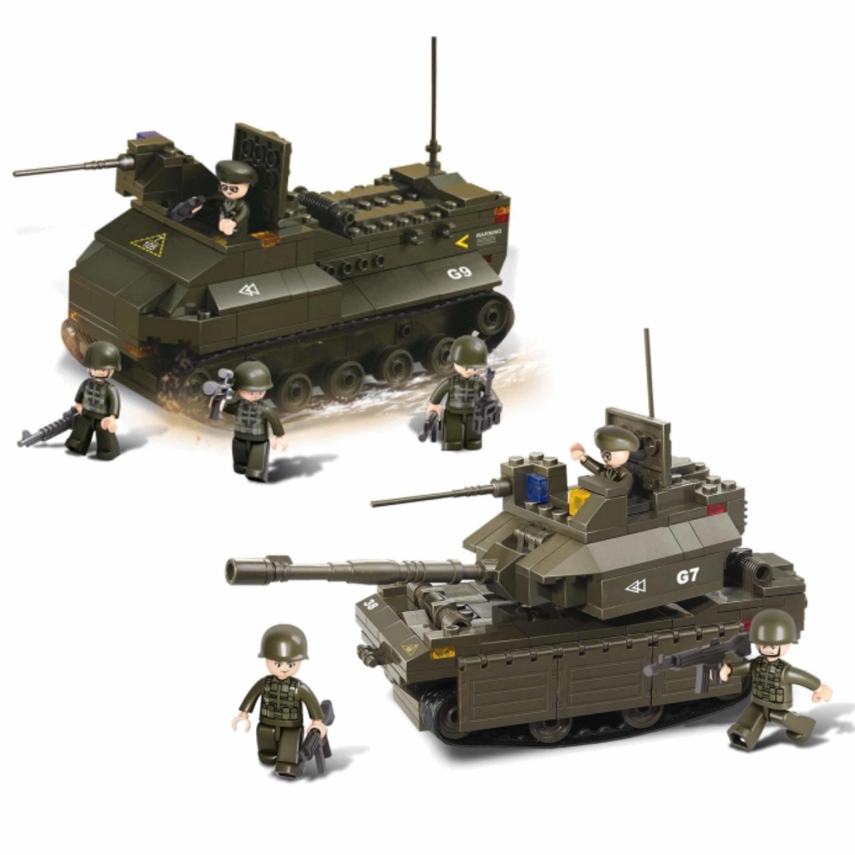Leger soldaten speelgoed set van sluban 2x army voertuigen van 31 cm 10268661