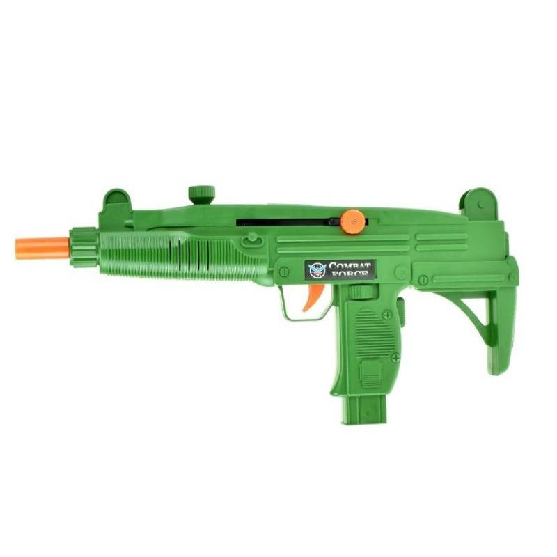 Groen leger speelgoed wapen uzi met ratel geluid 37 cm