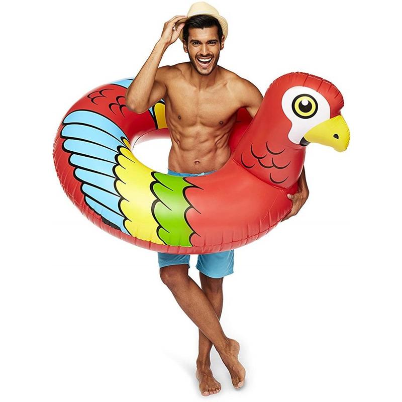Waterspeelgoed xxl rode papegaaien zwemband zwemring 120 cm