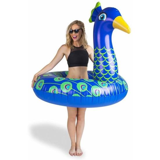 Waterspeelgoed xxl blauwe pauwen zwemband zwemring 110 cm