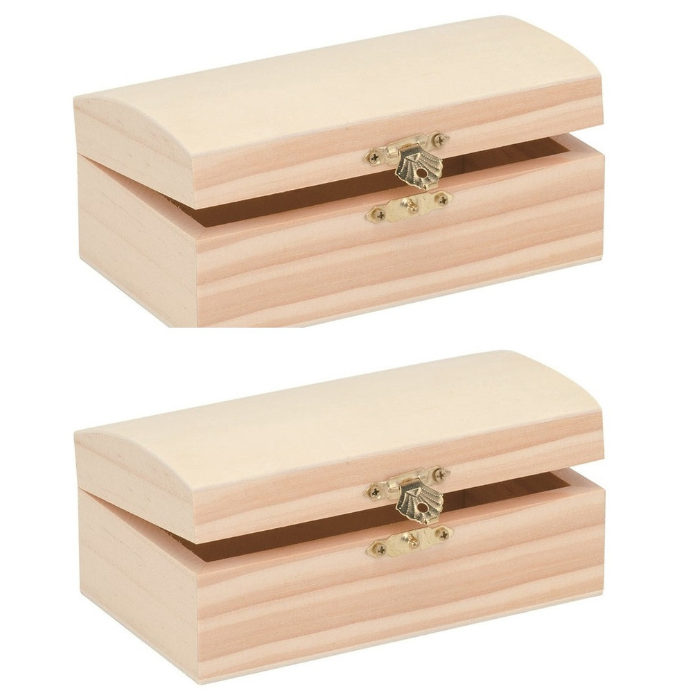 Pakket van 4x stuks houten kist ronde deksel 18 x 12 cm hobby knutselmateriaal