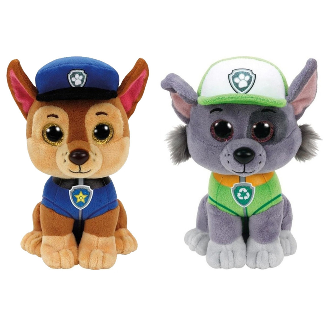 Paw patrol knuffels set van 2x karakters chase en rocky 15 cm